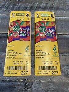 2 Atlanta Olympics XXVI 1996 Tickets Hockey Unused Excellent