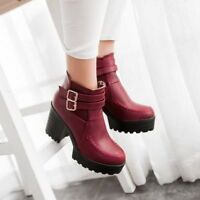 Womens Fashion Punk Buckle Strap Gothic High Heels Platform Shoes Ankle Boots