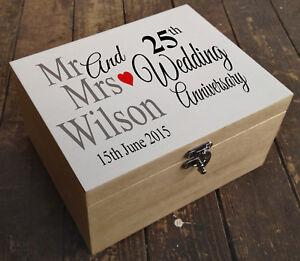 Personalised luxury pine wooden memory keepsake box, Wedding anniversary present