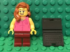 Lego City Town Dark Pink Torso Female Mini Figure With Laptop Computer Utensil