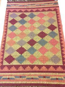 Pink Tribal Nomadic Geometric Handmade Natural Fibres Jute Wool Kilim Rug Runner