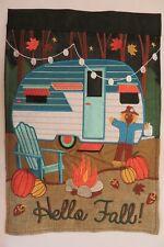 """""""Hello Fall"""" Travel Camper, Pumpkins, Scarecrow, Burlap, applique Garden flag"""