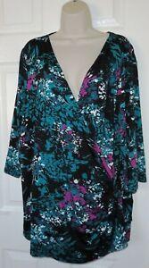 Womens🦋ANN HARVEY🦋black mix stretch jersey wrap top blouse size 3 26/28
