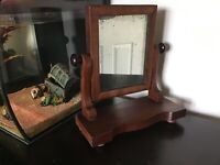 Antique vintage Edwardian Table top Swing vanity Mirror small size