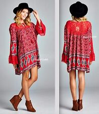 Velzera Red Floral Lace Hippie Tunic Dress Size S New Gypsy Bohemian Festival