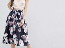 Y.A.S Studio Tall Aliana Full Prom Midi Skirt In Floral Print Multi Uk 10 RRP£85