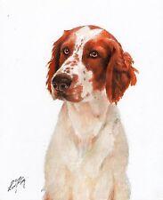 Original Oil Dog Portrait Painting Welsh Springer Spaniel Artwork Artist Signed