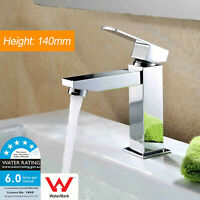 WELS Bathroom Square Flick Vanity Brass Cubic Basin Mixer Tap Faucet Outlet Set