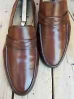 BALLY Mens Dress Shoes Brown Leather Casual Slip On Italian Loafers Size 10.5M