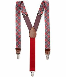 Club Room Mens Tartan Plaid Medium Suspenders, Red, One Size