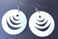 Boho Hippy Gypsy 70s Style Large White Disc Patterned Fashion Earrings