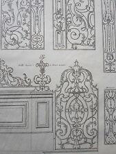 GRAVURE XVIIIéme PILASTRE FER FORGE GRILLE MONTANT ORNEMENT DECORATION