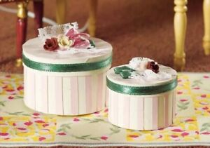 1/12th Scale Dolls House Luxury Pink Striped Hat Boxes.