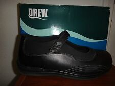 DREW Women's Orthopedic Comfortable Double Wide Black Leather Flat Shoes 10.5 WW