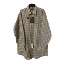 Men's Shaquille Oneal XLG dress shirt 2XL 36/37 18inch neck Gray Plaid NEW