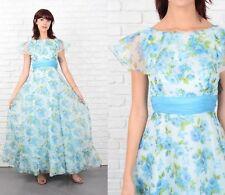 Vintage 70s Blue Floral Maxi Dress Cape Slv Cocktail Full Maxi XXS