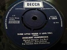 "ENGELBERT HUMPERDINCK * THREE LITTLE WORDS ( I LOVE YOU ) * 7"" SINGLE DECCA 1968"