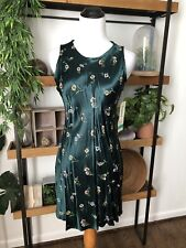 Breakin Loose NWT Dead stock Vintage 90's Y2K Forest Green Floral Silky Dress