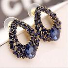 New Fashion Women Luxury Blue Crystal Rhinestone Drop Dangle Ear Stud Earrings