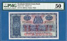 Scotland, British Linen Bank, 1 Pound, 1947,  AUNC-PMG50, P157c