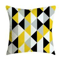 Geometric Yellow Gray Cushion Cover Home Bedroom Sofa Cases Square Decor S8Q9