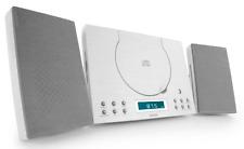 Denver Blanc CD Radio-réveil Lecteur Montage Mural stéréo compact hifi système NEUF