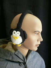 Earwarmers Winter Warm Material Happy Pinguin Design Hand Made Winter Cold Ears