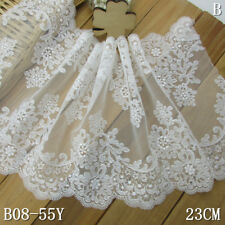 """1Y Off-white Scalloped Floral Embroidered Lace Trim Tulle For DIY Craft Wide 9"""""""