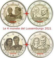 LUSSEMBURGO 2021 4X2 EURO FDC MATRIMONIO + JEAN NELLE 4 VERSIONI IN CAPSULE GRAT