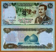 Iraq, 25 Dinars, 1996, P-73, UNC > Saddam, Medieval Battle, Martyr's Monument