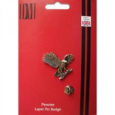 Silver Handmade In England Eagle Hawk Falcon Design Pewter Lapel Pin Badge New