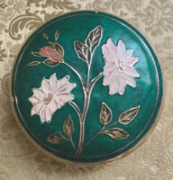 "Vintage Solid Brass Enamel Embossed Floral Metal Trinket Box 4"" x 2"""