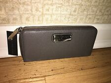 New MARC JACOBS $198 Wallet Zip-Around Slim Continental Leather Gray-NWT Bonus!