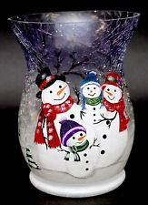 New Yankee Candle Snow Family Crackle Glass Large Jar Holder