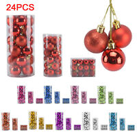 24PCS Christmas Tree Baubles Balls Plain Glitter Xmas Ornaments Decoration 3-6CM
