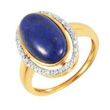 9ct Yellow Gold Plated Sterling Silver Large Oval Lapis Lazuli & Diamond Ring L