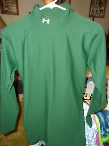 Boy's Under Armour Cold Gear Mock Neck Green Fitted Long Sleeve  Size L  EUC