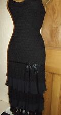 FABULOUS ❤️ KAREN MILLEN Size 3 / 10 12 Black Crochet Gatsby Flapper Party Dress