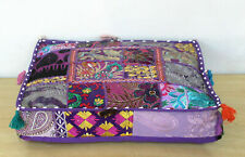 "Bohemian Patchwork Square Cushion Pouf Cover Purple 35"" Large Indian Floor Boho"
