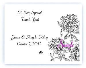 100 Custom Personalized Black Floral Vintage Wedding Bridal Thank You Cards
