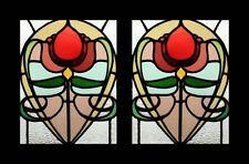 Art Nouveau Antique English Rare & Beautiful Pair Stained Glass Windows