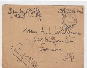 WW1 United States Officers Mail FPO 20K Western Front France Evanston Illinois