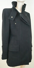 GUCCI Negro de Lana & cachemira con cuello de doble abotonadura Chaqueta Abrigo 44 UK12