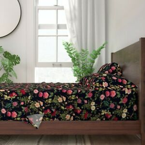 Floral Flowers Dragonfly Dragonflies 100% Cotton Sateen Sheet Set by Roostery