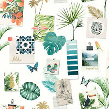 Tropical Mood Board Wallpaper with Glitter Exotic Flamingos and Birds L37304
