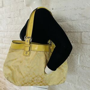Coach Large Tote  Yellow   needs to clean. for details see photos