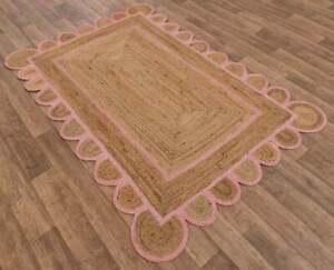 5x8 feet square scalloped jute rug christmas rug scallop boho decor handmade rug