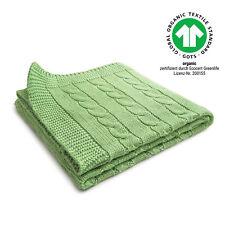 Baby-Decke Kuscheldecke Schmusedecke Babydecke Bio Baumwolle Zopf grün 70x90 cm