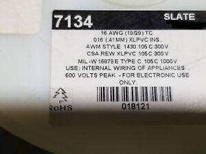 Alpha 7134 #16awg Tinned Copper Hook-Up Wire REW-XLPVC MIL-W-16878E SLATE /50ft