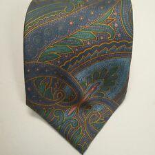 Cerutti 1881 Blue Green Art Deck Pattern 100% Silk.  59L x 4W. (Tie2)